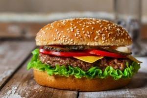 hamburger with garnishes